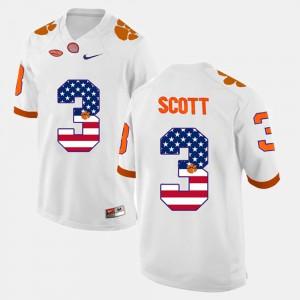 Clemson University #3 For Men Artavis Scott Jersey White High School US Flag Fashion 815161-428