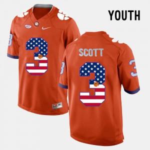Clemson #3 Youth Artavis Scott Jersey Orange University US Flag Fashion 136480-175