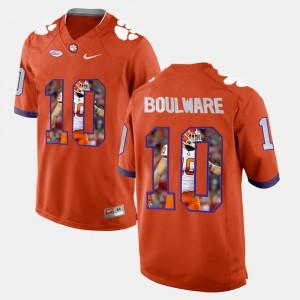 Clemson Tigers #10 Mens Ben Boulware Jersey Orange Stitched Player Pictorial 856694-234