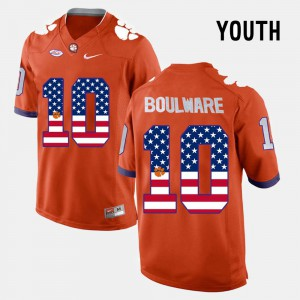 CFP Champs #10 Youth Ben Boulware Jersey Orange College US Flag Fashion 513706-345
