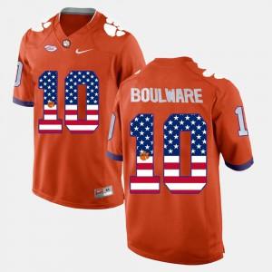 Clemson National Championship #10 Mens Ben Boulware Jersey Orange Stitch US Flag Fashion 453821-749
