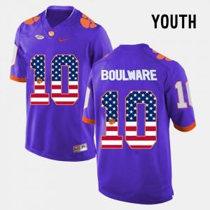 Clemson University #10 Youth(Kids) Ben Boulware Jersey Purple Player US Flag Fashion 622860-927
