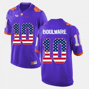 Clemson National Championship #10 Men Ben Boulware Jersey Purple NCAA US Flag Fashion 786264-399