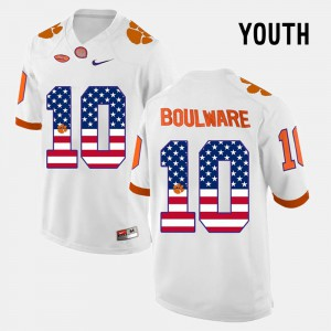 Clemson Tigers #10 Youth Ben Boulware Jersey White NCAA US Flag Fashion 385242-690
