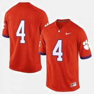 Clemson University #4 Men's Jersey Orange University College Football 321958-694