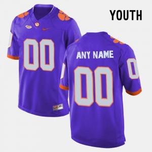 Clemson University #00 Youth Custom Jerseys Purple College College Limited Football 428895-164