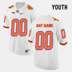 Clemson University #00 Youth Customized Jerseys White Stitch College Limited Football 689206-886