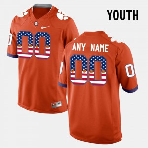 Clemson Tigers #00 Youth Customized Jersey Orange College US Flag Fashion 701025-573