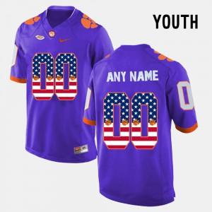 Clemson Tigers #00 Youth(Kids) Custom Jersey Purple US Flag Fashion Stitch 359301-267