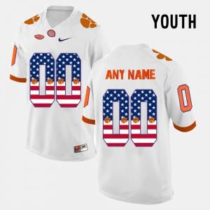 Clemson National Championship #00 For Kids Custom Jersey White US Flag Fashion Player 629462-691