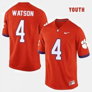 Clemson #4 For Kids Deshaun Watson Jersey Orange Stitch College Football 484374-737