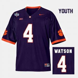 Clemson Tigers #4 Youth Deshaun Watson Jersey Purple Alumni College Football 275981-350