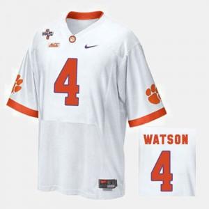 Clemson #4 For Men Deshaun Watson Jersey White Stitched College Football 861000-530