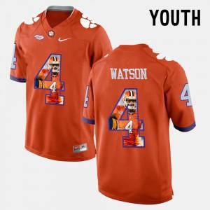 Clemson University #4 Youth DeShaun Watson Jersey Orange Pictorial Fashion Stitch 540181-113