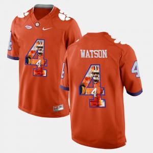 Clemson #4 Men DeShaun Watson Jersey Orange Pictorial Fashion Stitch 418432-767