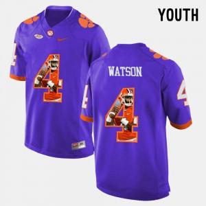 Clemson Tigers #4 Kids DeShaun Watson Jersey Purple Alumni Pictorial Fashion 582505-469