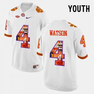 Clemson Tigers #4 For Kids DeShaun Watson Jersey White Stitch Pictorial Fashion 778777-133