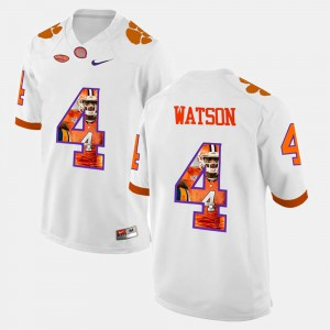 Clemson University #4 Men's DeShaun Watson Jersey White High School Pictorial Fashion 786638-398
