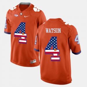 Clemson University #4 Mens DeShaun Watson Jersey Orange High School US Flag Fashion 317472-914