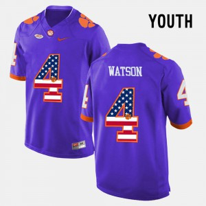 CFP Champs #4 Youth DeShaun Watson Jersey Purple Stitch US Flag Fashion 745052-556