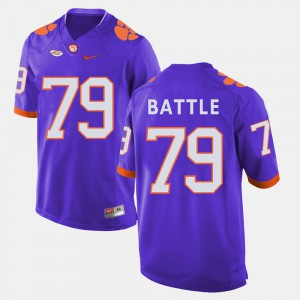 Clemson University #79 Men Isaiah Battle Jersey Purple College Football University 272150-538
