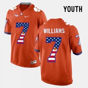 Clemson University #7 Youth(Kids) Mike Williams Jersey Orange US Flag Fashion Player 616948-547