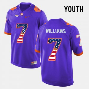 Clemson National Championship #7 Youth(Kids) Mike Williams Jersey Purple US Flag Fashion Alumni 420398-812