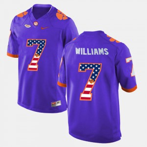 Clemson University #7 Mens Mike Williams Jersey Purple Embroidery US Flag Fashion 864016-275