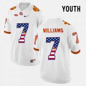 Clemson #7 Kids Mike Williams Jersey White US Flag Fashion Embroidery 831544-739