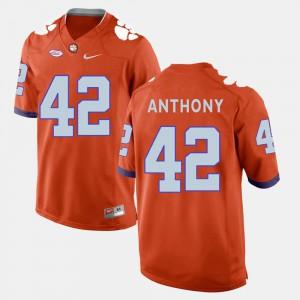 Clemson National Championship #42 Men Stephone Anthony Jersey Orange College Football Stitch 139122-642