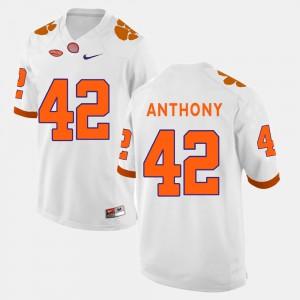 Clemson University #42 For Men's Stephone Anthony Jersey White Alumni College Football 775281-643
