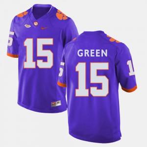 Clemson Tigers #15 For Men's T.J. Green Jersey Purple College Football Stitch 650590-301
