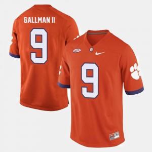 Clemson #9 Mens Wayne Gallman II Jersey Orange College Football Embroidery 551366-620