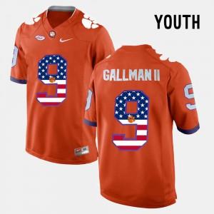 Clemson National Championship #9 For Kids Wayne Gallman II Jersey Orange NCAA US Flag Fashion 672015-504