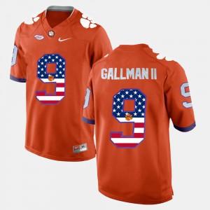 Clemson National Championship #9 For Men's Wayne Gallman II Jersey Orange University US Flag Fashion 206412-610
