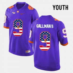 Clemson Tigers #9 For Kids Wayne Gallman II Jersey Purple College US Flag Fashion 455351-493