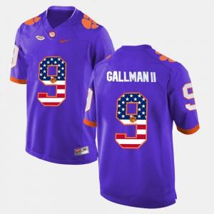 Clemson National Championship #9 Men Wayne Gallman II Jersey Purple NCAA US Flag Fashion 785850-635