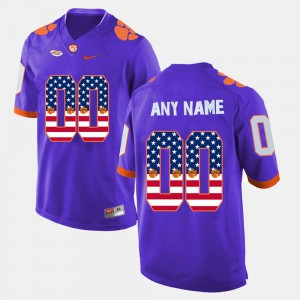 Clemson Tigers #00 Mens Customized Jerseys Purple Embroidery US Flag Fashion 533072-483