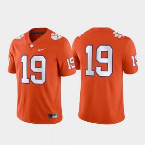 Clemson Tigers #19 For Men's Jersey Orange Stitch Game 322282-199