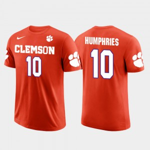 Clemson University #10 Men's Adam Humphries T-Shirt Orange NCAA Tampa Bay Buccaneers Football Future Stars 910460-916