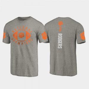 Clemson #3 Men Amari Rodgers T-Shirt Gray College Football Playoff 2018 National Champions University 158048-652