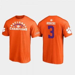 Clemson #3 Men Amari Rodgers T-Shirt Orange Pylon College Football Playoff 2018 National Champions Player 600165-365