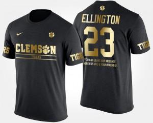 Clemson #23 Men Andre Ellington T-Shirt Black College Gold Limited Short Sleeve With Message 880101-516