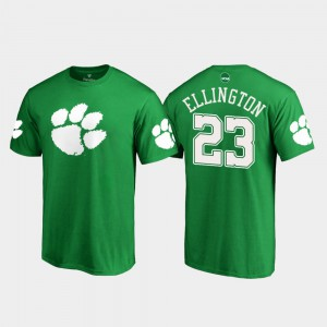 Clemson #23 Mens Andre Ellington T-Shirt Kelly Green Stitched St. Patrick's Day White Logo 680396-484