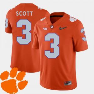 Clemson University #3 For Men's Artavis Scott Jersey Orange 2018 ACC College Football Embroidery 759281-557