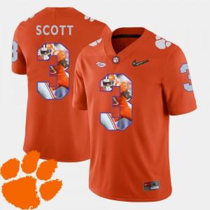Clemson University #3 For Men's Artavis Scott Jersey Orange Stitched Pictorial Fashion Football 916980-809