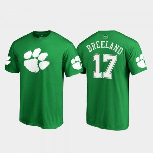 Clemson Tigers #17 Men's Bashaud Breeland T-Shirt Kelly Green White Logo St. Patrick's Day Alumni 429342-808