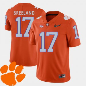 Clemson Tigers #17 For Men's Bashaud Breeland Jersey Orange Stitched 2018 ACC College Football 750176-471