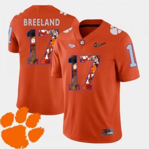 Clemson University #17 For Men Bashaud Breeland Jersey Orange High School Pictorial Fashion Football 341529-447