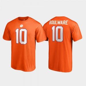 Clemson University #10 Men Ben Boulware T-Shirt Orange NCAA College Legends Name & Number 324723-806